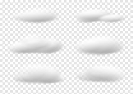Realistic white cloud vectors isolated on transparency background