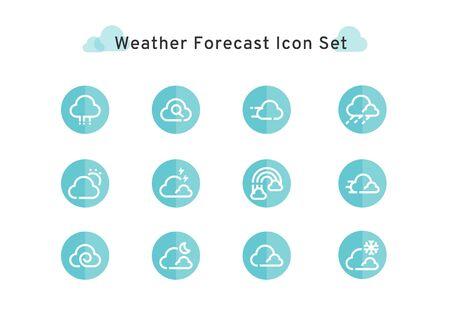weather forecast could flat icon set isolated on white background