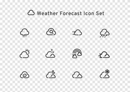 weather forecast could line icon set isolated on transparent background