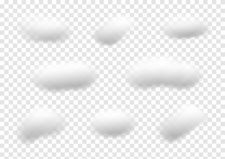 Realistic white cloud vectors isolated on transparent background, cotton wool Çizim
