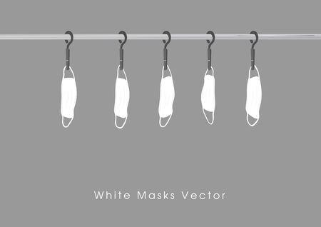 A white masks vector hung on a clothesline Çizim