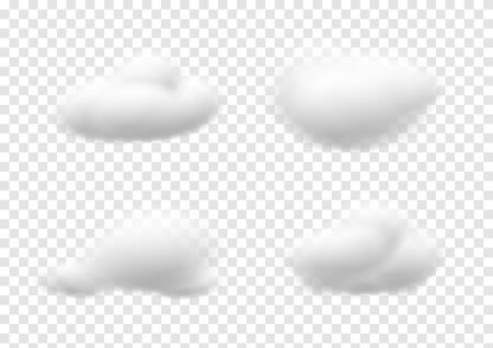 Realistic white cloud vectors isolated on transparency background, cotton wool ep43