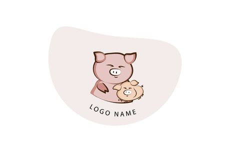 pig mother and piggy playing vector, happy logo