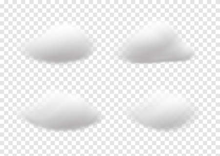 Realistic white cloud vectors isolated on transparency background, cotton wool