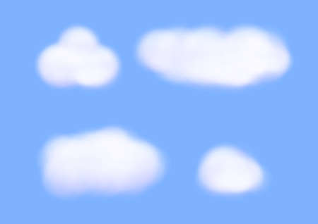 white cloud vectors isolated on blue background