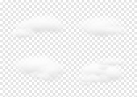Realistic white cloud vectors isolated on transparency background, cotton wool ep61