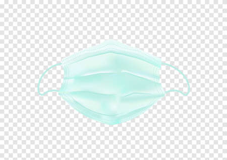 green medical face mask isolated on transparency background