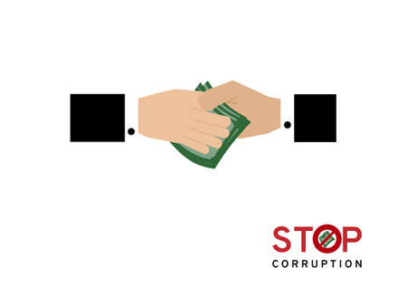 Business man giving or paying money for corruption deal vector isolated on white background Illusztráció