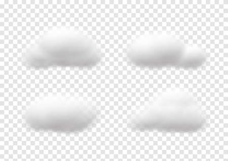 realistic cloud vectors isolaed on transparency background ep80 矢量图像