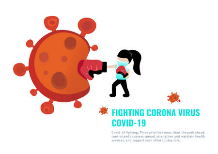 A powerful girl wear medical mask punched Corona virus ball Covid-19 era 矢量图像
