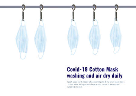 Covid-19 blue cotton mask washing and air dry daily vector isolated on white background 矢量图像