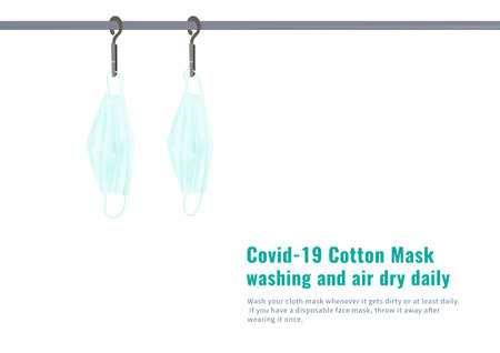 Covid-19 green cotton mask washing and air dry daily vector isolated on white background