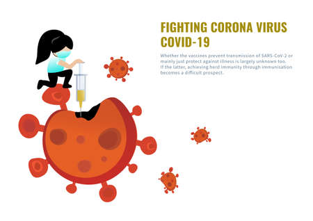 A girl wear medical mask fighting corona virus, covid-19 with syringe vaccine injection vector