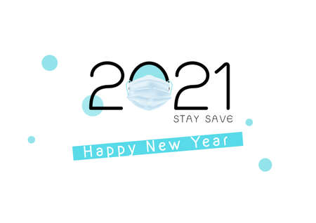 2021 happy new year with medical mask vector, typography banner isolated on white background 矢量图像