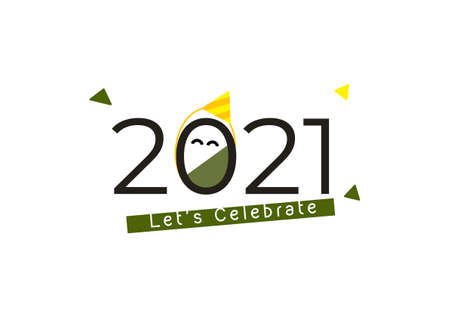 Happy new year 2021 typography celebration banner isolated on white background 矢量图像