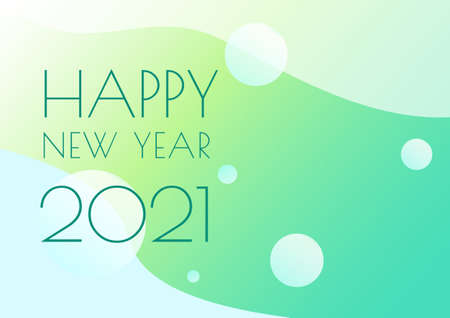 Happy new year 2021 cereblation green banner vector background 矢量图像