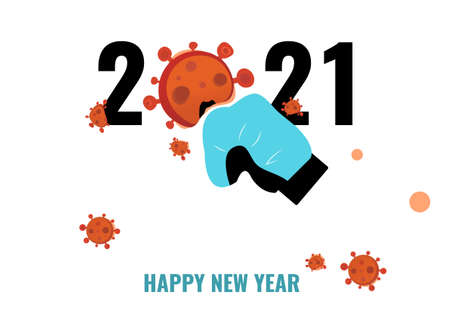 Happy new year 2021, punched Covid-19 banner 矢量图像