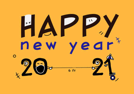 Colorful Happy new year 2021 with cartoon six feet distancing vector, typography banner ep10