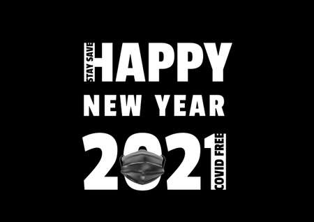 Happy new year 2021 with medical black mask vector, typographic banner ep07 矢量图像
