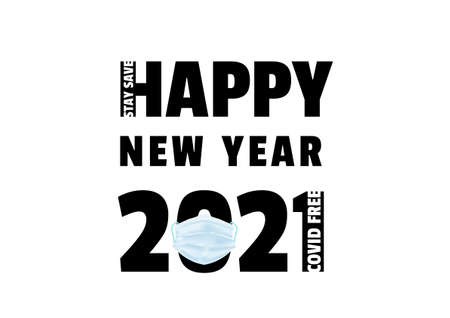 Happy new year 2021 with medical mask vector, typographic banner ep06