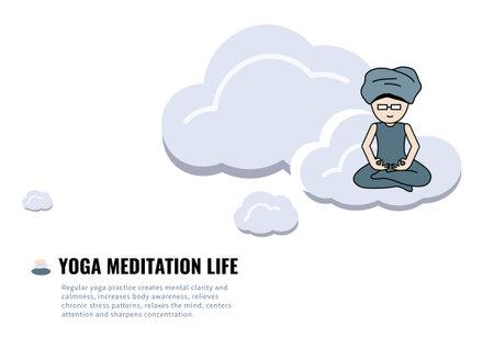 Yoga meditation on cloud for life and balance illustration isolated on white background
