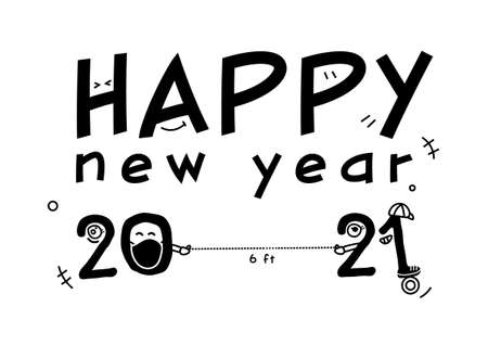 Happy new year 2021 with cartoon six feet distancing vector, typography banner ep09 矢量图像