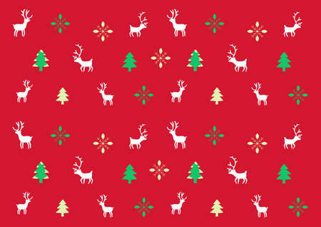 Christmas pine tree reindeer and snowflake pattern vector for Happy new years Celebration festival