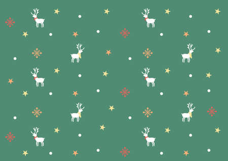 Christmas reindeer and snowflake pattern vector for Happy new years Celebration festival