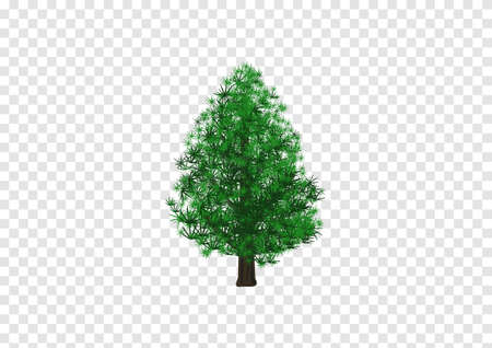 Merry christmas pine tree vector on transparency background