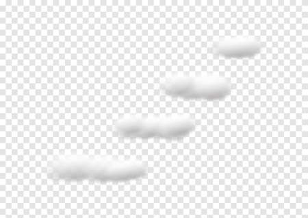 realistic 4 step cloud vectors isolated on transparency background ep143  イラスト・ベクター素材