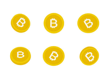 A set of bitcoin cryptocurrency vector isolated on white background