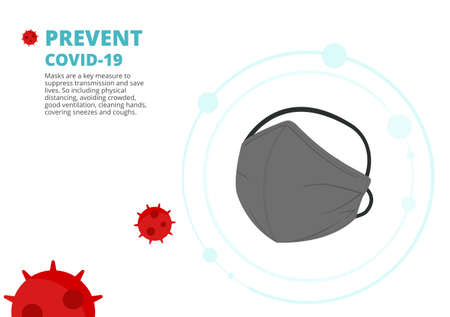 surgical or medical face mask to protect corona virus, covid-19 vector isolated on white background illustration