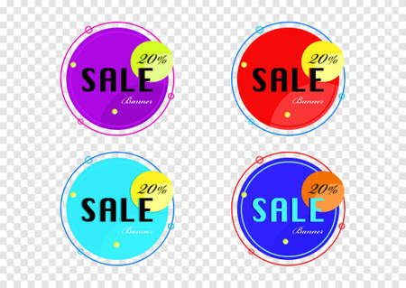 the element vector of colorful sale banner isolated on transparency background