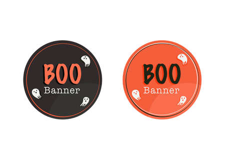 halloween festival boo vector banner isolated on white background  イラスト・ベクター素材