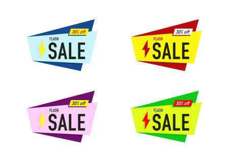 the element design of colorful sale banner geometric shape vector isolated on white background  イラスト・ベクター素材