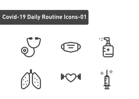 covid19 daily routine icon set isolated on white background ep01