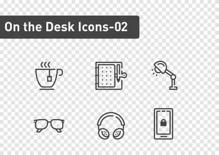 On the desk icon set isolated on transparency background ep02  イラスト・ベクター素材