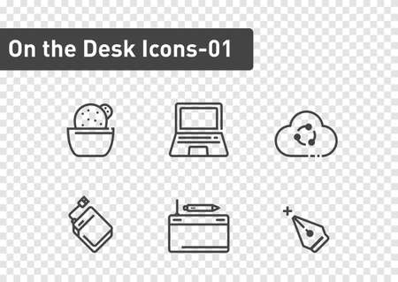 On the desk icon set isolated on transparency background