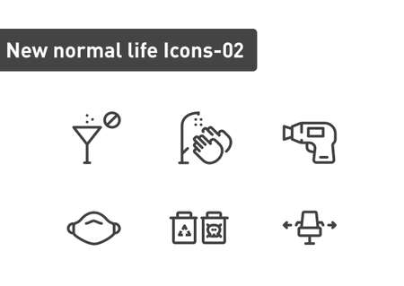 new normal ilfe icon set isolated on white background ep02