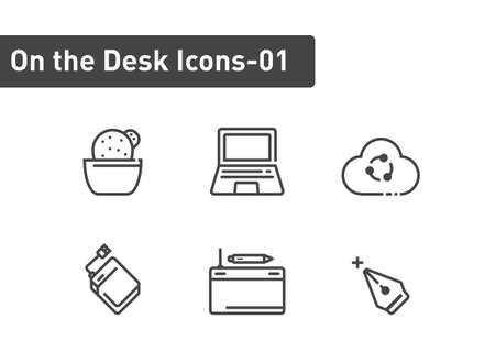 On the desk icon set isolated on white background
