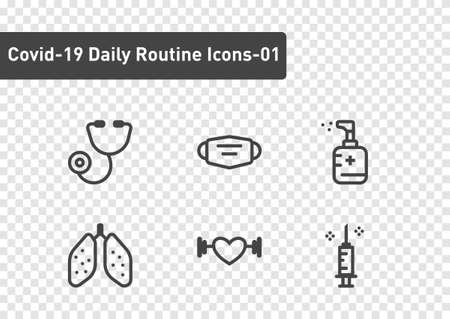 covid19 daily routine icon set isolated on transparency background