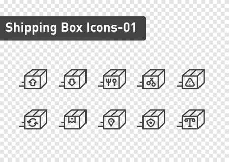 shipping box icon set isolated on transparency background ep01  イラスト・ベクター素材