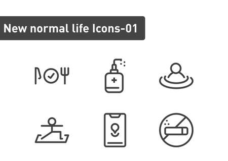 new normal ilfe icon set isolated on white background ep01  イラスト・ベクター素材