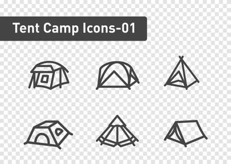 tent camp icon set isolated on transparency background ep01  イラスト・ベクター素材