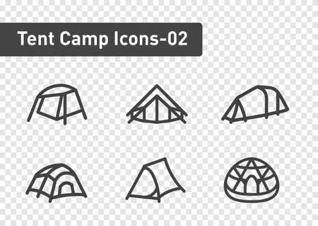 tent camp icon set isolated on transparency background