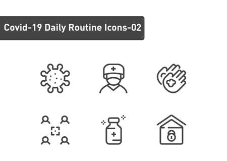 covid19 daily routine icon set isolated on white background ep02