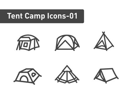 tent camp icon set isolated on white background ep01
