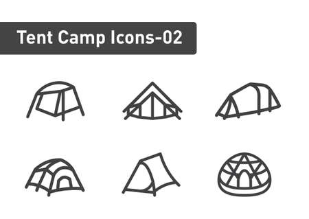 tent camp icon set isolated on white background ep02