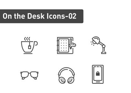 On the desk icon set isolated on white background ep02  イラスト・ベクター素材
