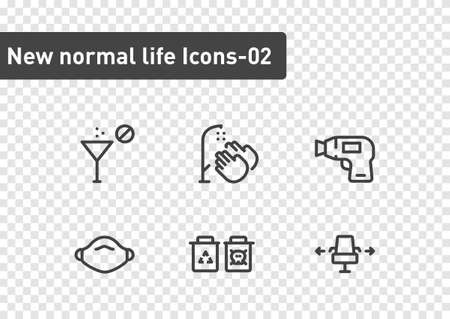 new normal ilfe icon set isolated on transparency background ep02